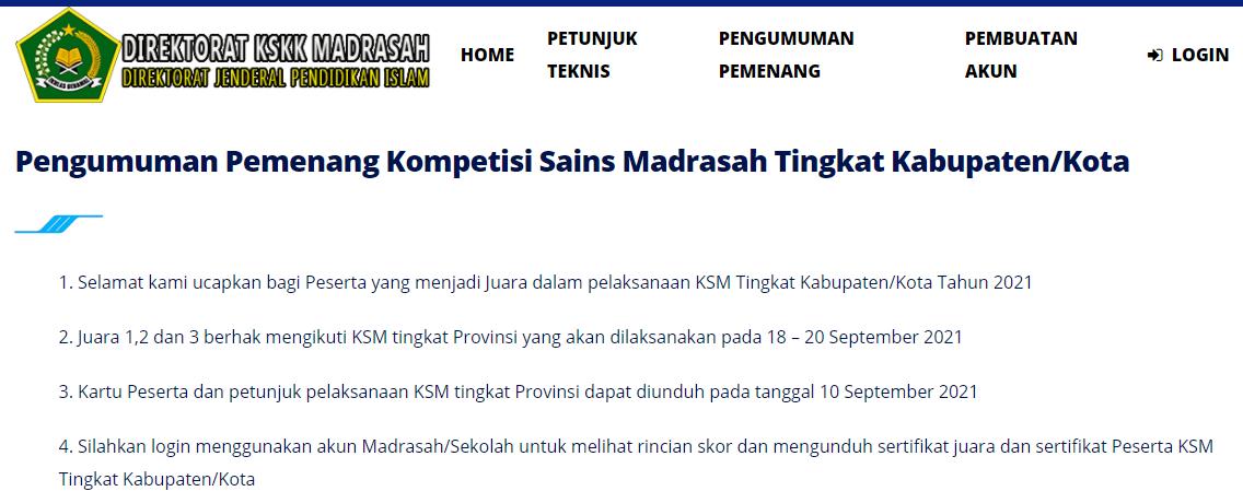 Pemenang Kompetisi Sains Madrasah Tingkat Kabupaten/Kota